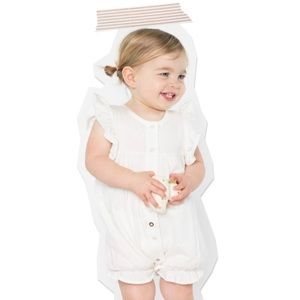 Other - Mila White Short Sleeve Ruffle Bubble Onepiece